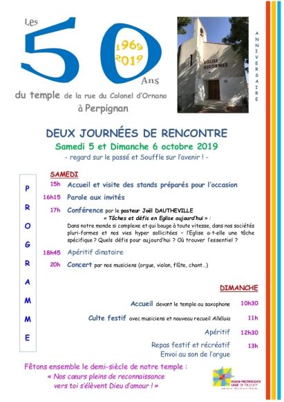 affiche 50 ans du temple rue Ornano à Perpignan